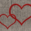 Stock Photo: Two stitched heart
