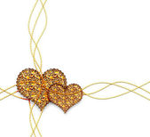 Two golden hearts — Stock Photo