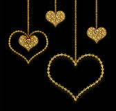 Heart golden garland — Foto Stock
