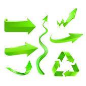 Green arrow icon set — Stock Vector