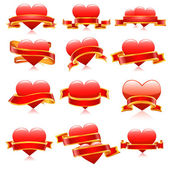 Vector banner set with heart for Valentine's day. — Stock Vector