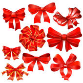 Set of red gift bow — Stock Vector