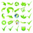 Green web elements set. Vector — Stockvectorbeeld