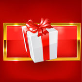 White gift on red background. vector — Stock Vector