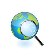 Global search glossy vector icon — Stock Vector