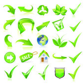Green web elements set. Vector — Vector de stock