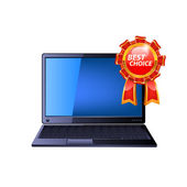Laptop with medal award. — Stock Vector
