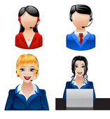 Customer support phone operators. Vector — Stock Vector