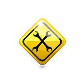 Panneau de construction jaune. vector — Vecteur
