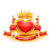 Decorative heart ornate golden vector frame. — Stock Vector