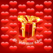 Gift present with fly hearts — Vector de stock