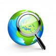 Stock Vector: Global search glossy vector icon