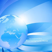 Blue background with Globe. — Vettoriale Stock
