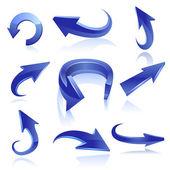 Set di icone freccia blu. vector — Vettoriale Stock