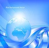 Fondo azul con globo. — Vector de stock