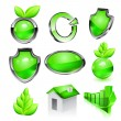 Green eco icon set. Vector — Stock Vector