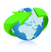 Earth with arrow circle around. Vector — Stock Vector