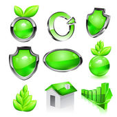 Green eco icon set. Vector — Stock Vector