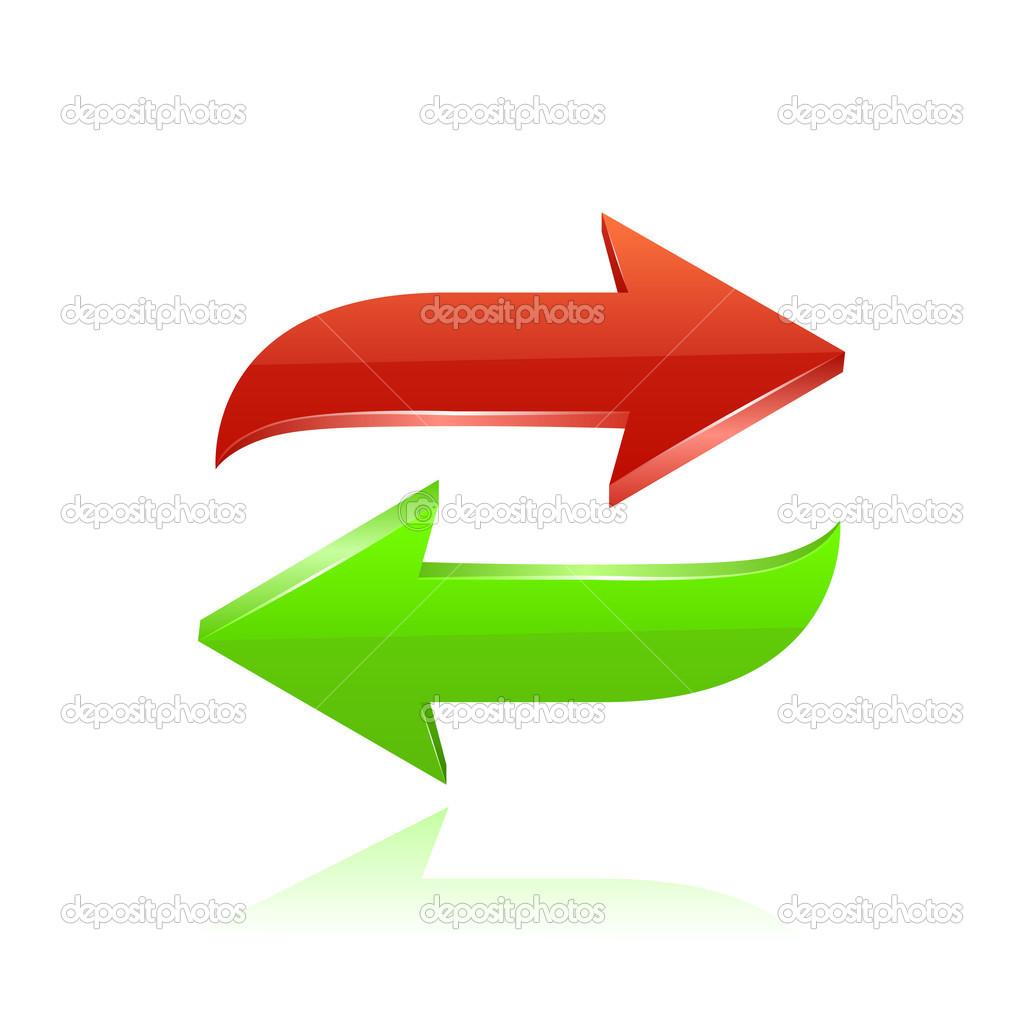 红色和绿色的箭头.矢量