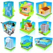 Building icon set. Vector — Stock Vector