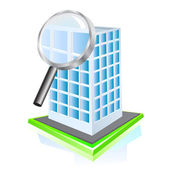 Search building icon. Vector — Stock Vector