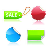 Vector.Glossy and colorful sale tag stickers. — Vetor de Stock