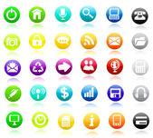 Web glossy icon set. Vector. — Stock Vector