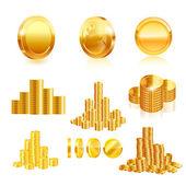 Goldmünze Satz. — Stockvektor