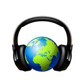 Globe with headphones. — Stock Vector