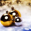 Stock Photo: Christmas balls, gold, silver.