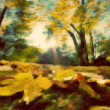 Autumn park vintage painting. - Stock Photo
