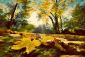 Autumn park vintage painting. — Stock Photo