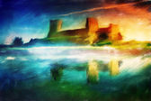 Old castle painting, magical sunset — Stock Photo