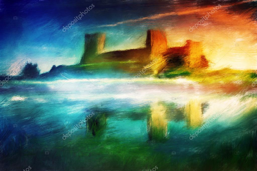 Old castle painting. Magical sunset at the river. Vintage stylized — Stock Photo #13123137