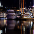 Royalty-Free Stock Photo: Marseille, France panorama at night, the harbour and cathedral.