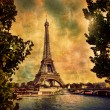Eiffel Tower in Paris, Fance in retro style. - Foto de Stock