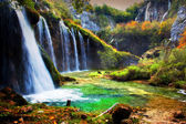 Cascada en el bosque. aguas cristalinas. — Foto de Stock