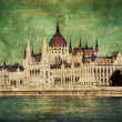 Hungarian parliament in Budapest, Hungary. Retro - Stock Photo