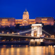Buda Castle and Chain Bridge. Budapest, Hungary - Stock Photo