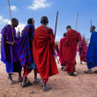Maasai men in their ritual dance in their village in Tanzania, Africa — Stock Photo #18596095