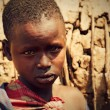Maasai child portrait in Tanzania, Africa - Stock Photo