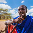 Maasai man portrait in Tanzania, Africa - Stock Photo