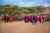 Maasai and their village in Tanzania, Africa — Stock Photo