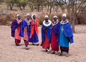 Maasai women in front of their village in Tanzania, Africa — Stock Photo