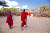 Maasai and their village in Tanzania, Africa — Stock Photo