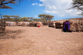 Maasai in their village in Tanzania, Africa — Stock Photo