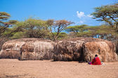 Maasai huts in their village in Tanzania, Africa — Stock Photo