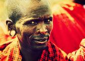 Maasai man portrait in Tanzania, Africa — Stock Photo