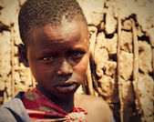 Maasai Kind Portrait in Tansania, Afrika — Stockfoto