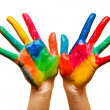 Royalty-Free Stock Photo: Painted hands, colorful fun. Isolated